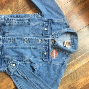 Denim Jean Harley Davidson Trucker Jacket 8/10